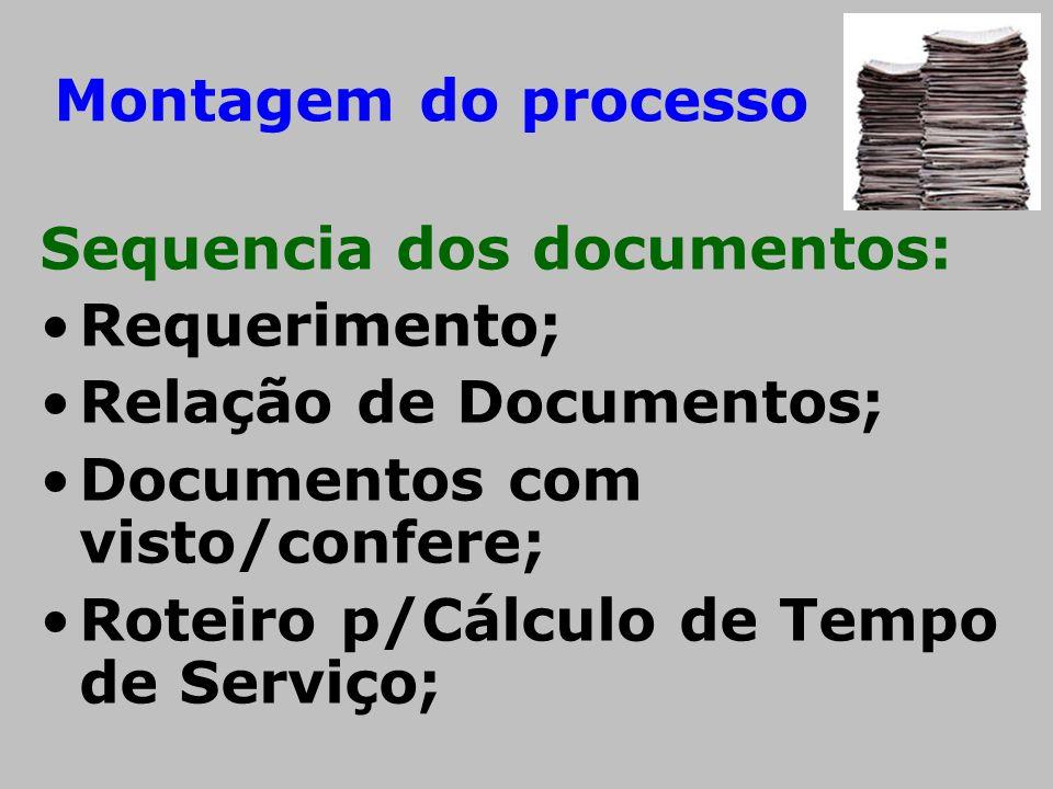 Montagem do processo Sequencia dos documentos: •Requerimento; •Relação de Documentos; •Documentos com visto/confere; •Roteiro p/Cálculo de Tempo de Se