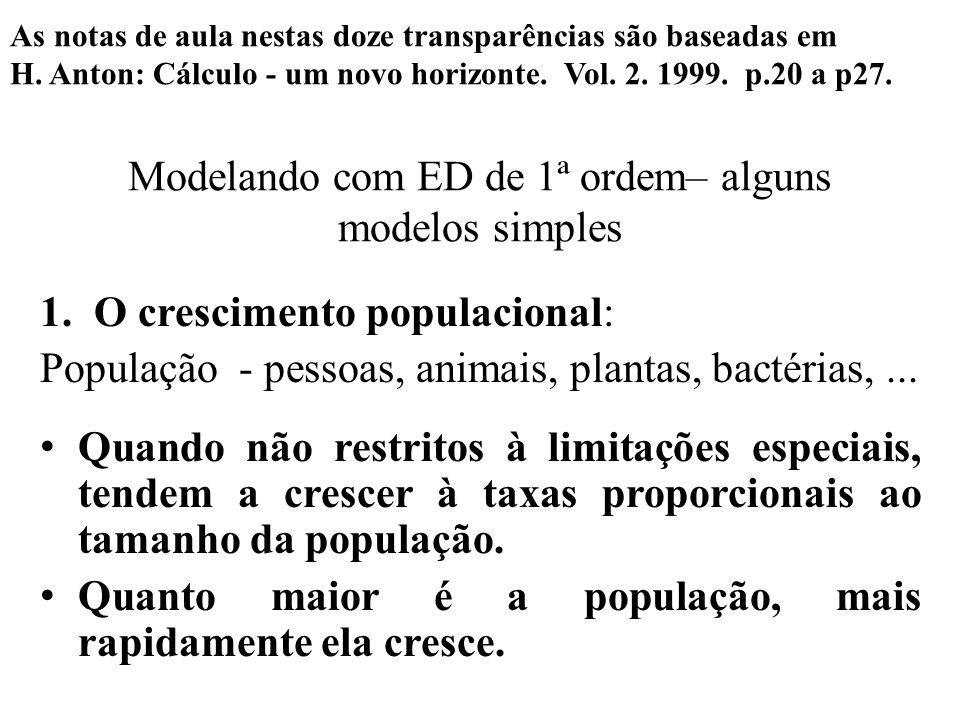 Modelando com ED de 1ª ordem– alguns modelos simples 1.O crescimento populacional: População - pessoas, animais, plantas, bactérias,... • Quando não r