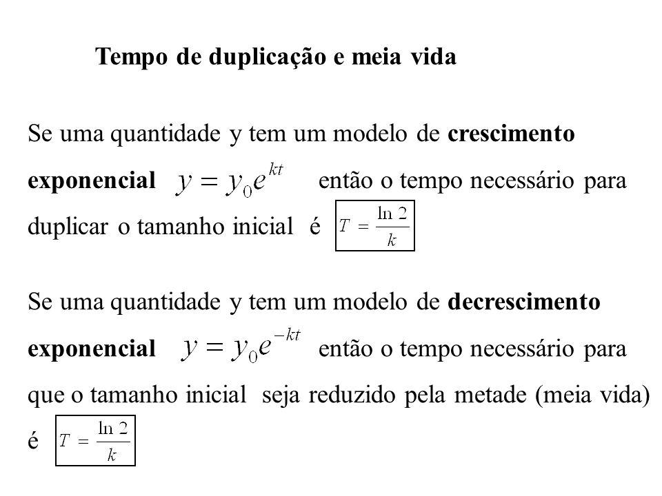 Tempo de duplicação e meia vida Se uma quantidade y tem um modelo de crescimento exponencial então o tempo necessário para duplicar o tamanho inicial