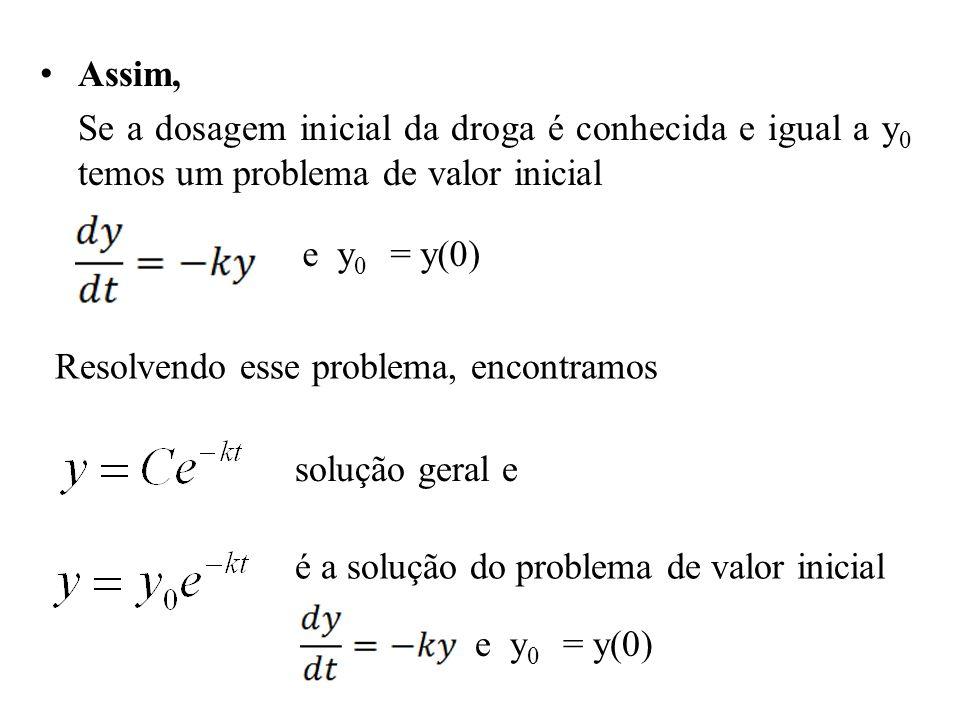 • Assim, Se a dosagem inicial da droga é conhecida e igual a y 0 temos um problema de valor inicial e y 0 = y(0) Resolvendo esse problema, encontramos