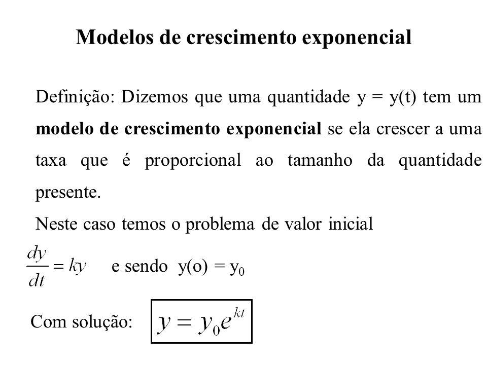 Modelos de decaimento exponencial Definição: Dizemos que uma quantidade y = y(t) tem um modelo de decaimento exponencial se ela decrescer a uma taxa que é proporcional ao tamanho da quantidade presente.