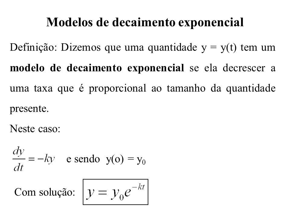 Modelos de decaimento exponencial Definição: Dizemos que uma quantidade y = y(t) tem um modelo de decaimento exponencial se ela decrescer a uma taxa q