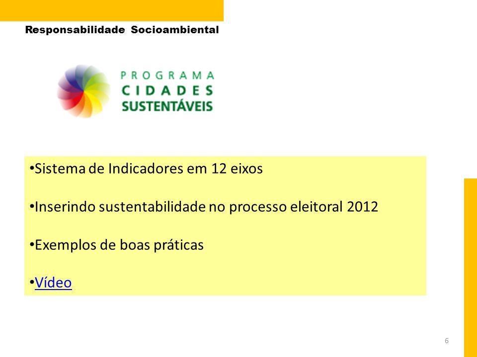 6 • Sistema de Indicadores em 12 eixos • Inserindo sustentabilidade no processo eleitoral 2012 • Exemplos de boas práticas • Vídeo Vídeo Responsabilid