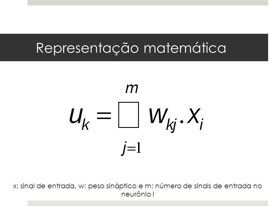Representação matemática x: sinal de entrada, w: peso sináptico e m: número de sinais de entrada no neurônio i