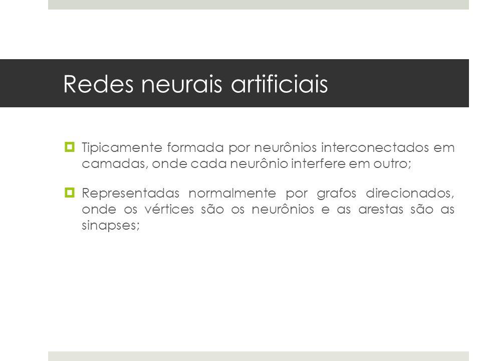 Redes neurais artificiais  Tipicamente formada por neurônios interconectados em camadas, onde cada neurônio interfere em outro;  Representadas norma