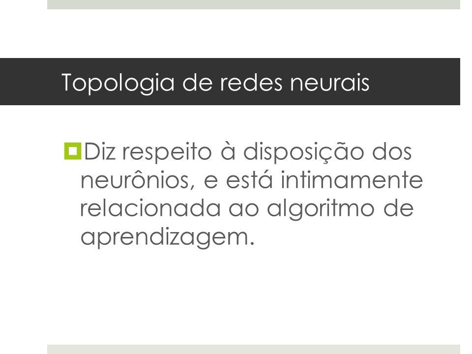 Topologia de redes neurais  Diz respeito à disposição dos neurônios, e está intimamente relacionada ao algoritmo de aprendizagem.