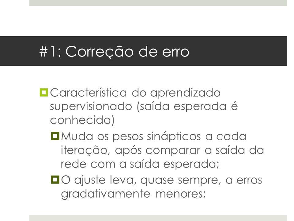 #1: Correção de erro  Característica do aprendizado supervisionado (saída esperada é conhecida)  Muda os pesos sinápticos a cada iteração, após comp