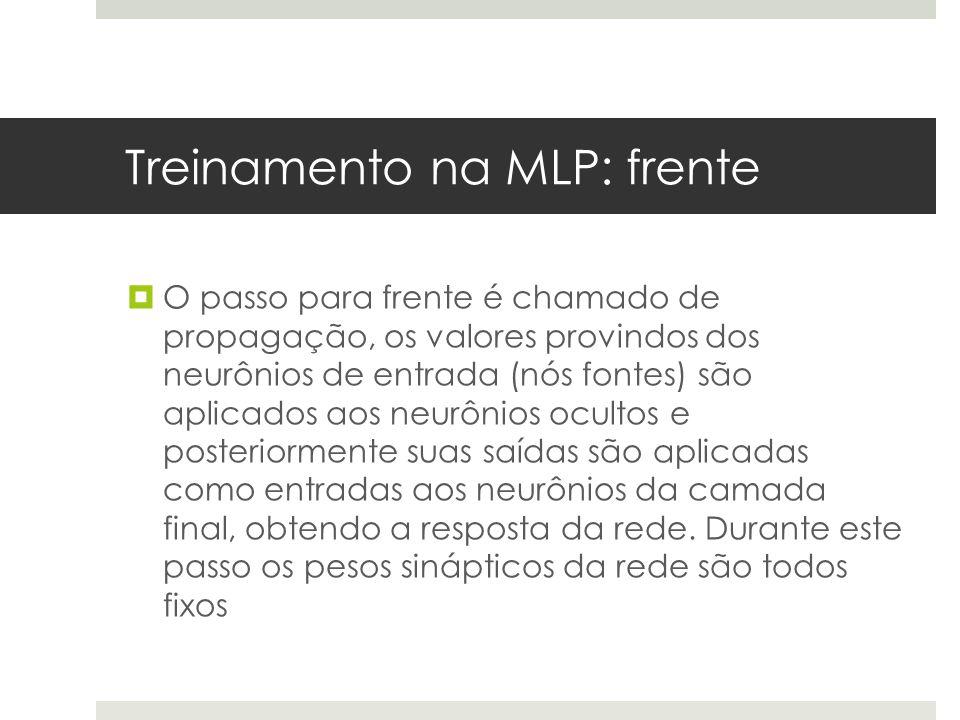 Treinamento na MLP: frente  O passo para frente é chamado de propagação, os valores provindos dos neurônios de entrada (nós fontes) são aplicados aos