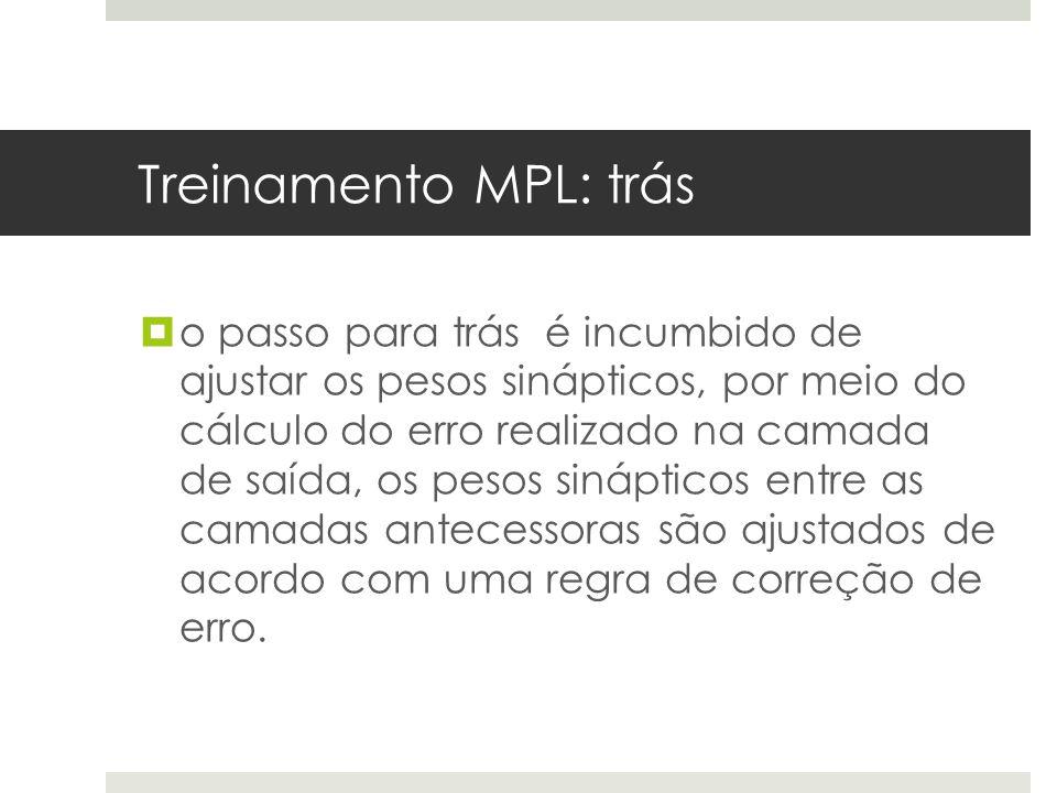 Treinamento MPL: trás  o passo para trás é incumbido de ajustar os pesos sinápticos, por meio do cálculo do erro realizado na camada de saída, os pes