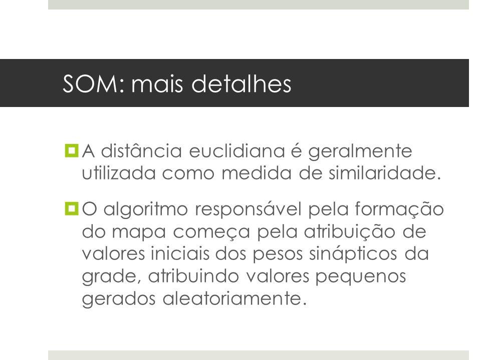 SOM: mais detalhes  A distância euclidiana é geralmente utilizada como medida de similaridade.  O algoritmo responsável pela formação do mapa começa