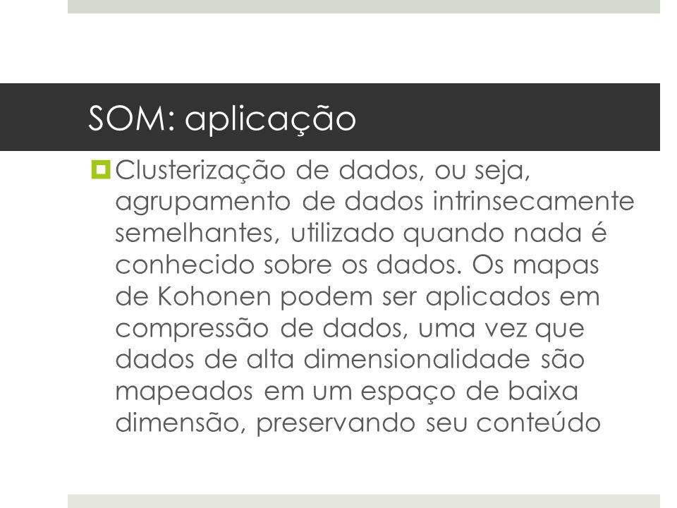SOM: aplicação  Clusterização de dados, ou seja, agrupamento de dados intrinsecamente semelhantes, utilizado quando nada é conhecido sobre os dados.