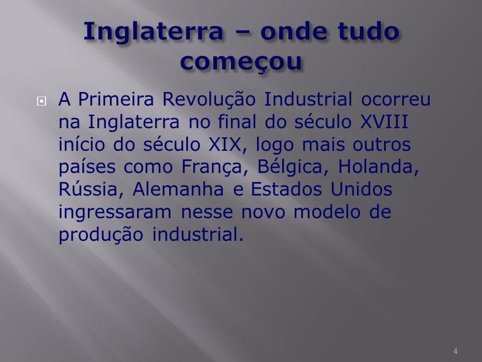  A Primeira Revolução Industrial ocorreu na Inglaterra no final do século XVIII início do século XIX, logo mais outros países como França, Bélgica, Holanda, Rússia, Alemanha e Estados Unidos ingressaram nesse novo modelo de produção industrial.