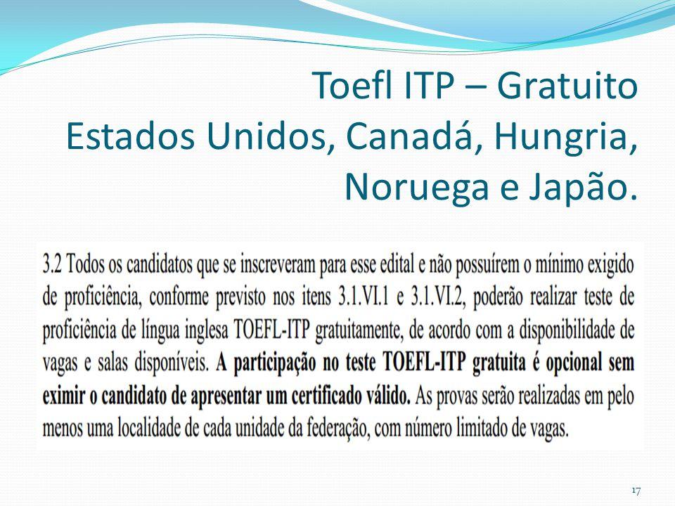 Toefl ITP – Gratuito Estados Unidos, Canadá, Hungria, Noruega e Japão. 17