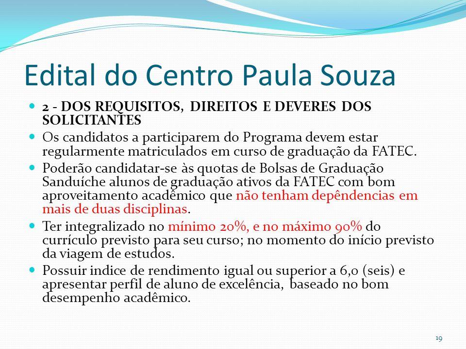 Edital do Centro Paula Souza  2 - DOS REQUISITOS, DIREITOS E DEVERES DOS SOLICITANTES  Os candidatos a participarem do Programa devem estar regularm