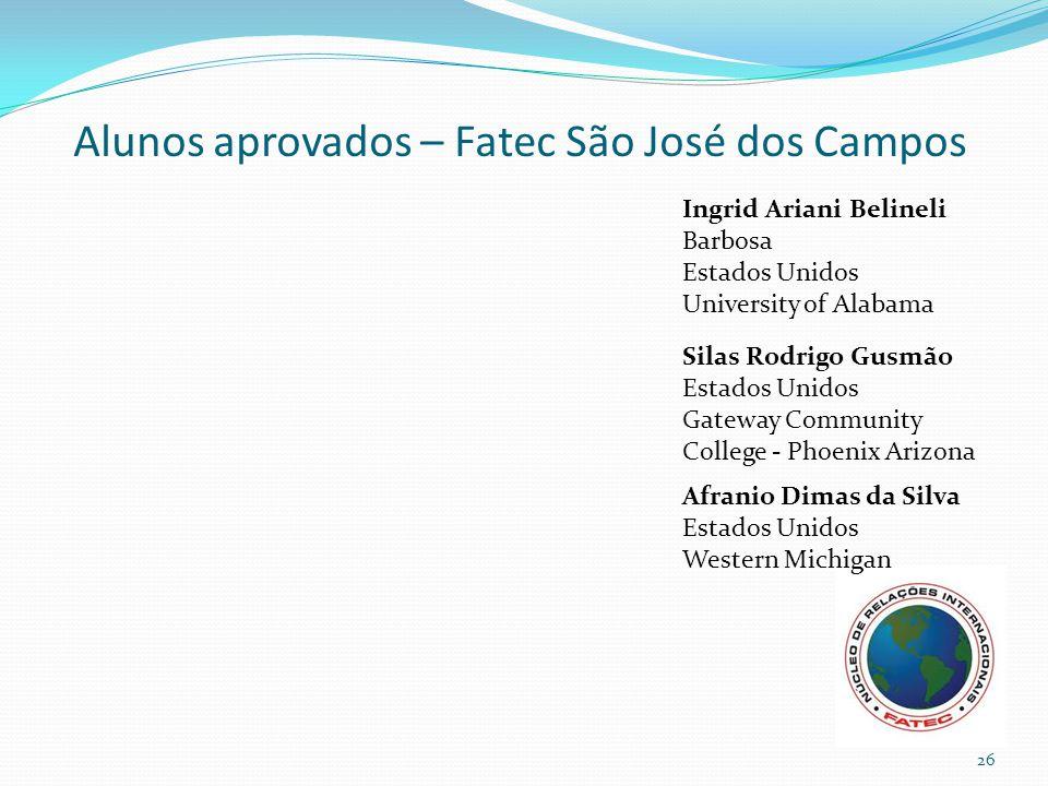 Alunos aprovados – Fatec São José dos Campos Ingrid Ariani Belineli Barbosa Estados Unidos University of Alabama Afranio Dimas da Silva Estados Unidos