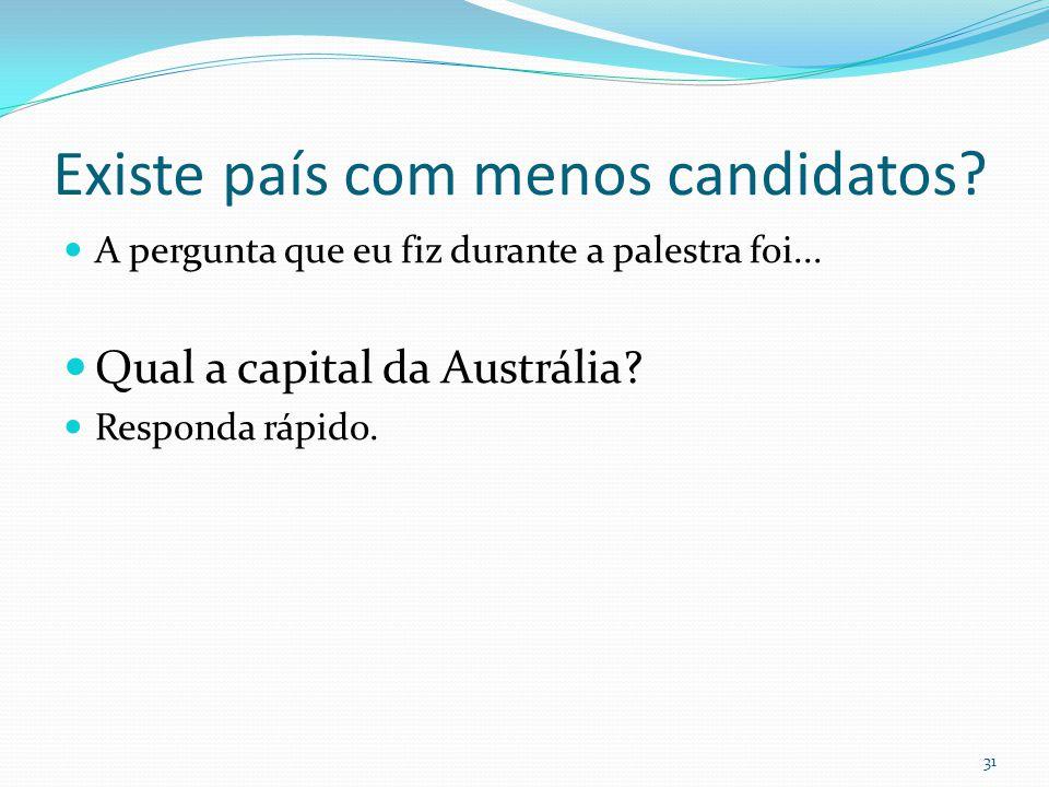 Existe país com menos candidatos?  A pergunta que eu fiz durante a palestra foi...  Qual a capital da Austrália?  Responda rápido. 31