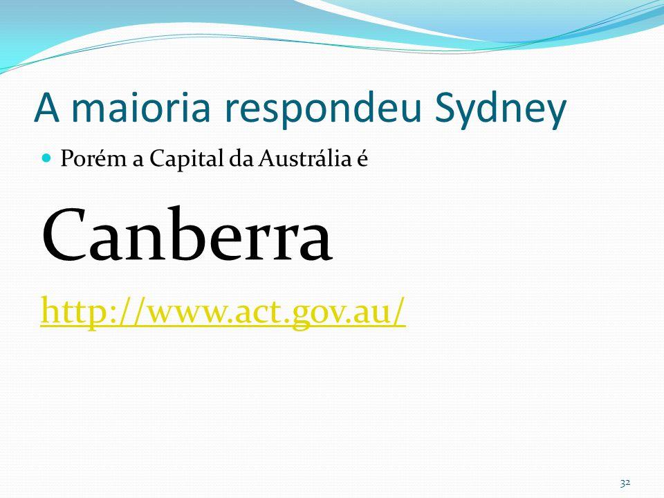 A maioria respondeu Sydney  Porém a Capital da Austrália é Canberra http://www.act.gov.au/ 32