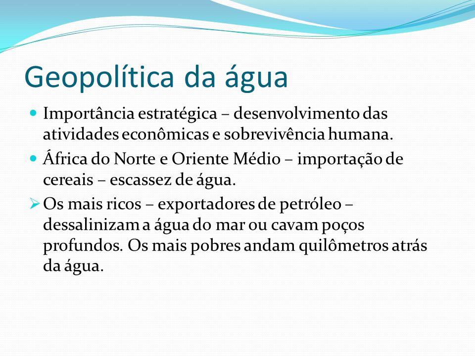 Geopolítica da água  Importância estratégica – desenvolvimento das atividades econômicas e sobrevivência humana.  África do Norte e Oriente Médio –