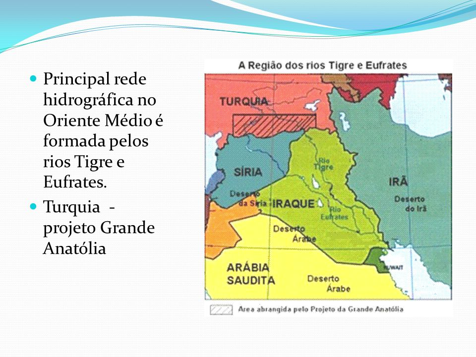  Principal rede hidrográfica no Oriente Médio é formada pelos rios Tigre e Eufrates.  Turquia - projeto Grande Anatólia