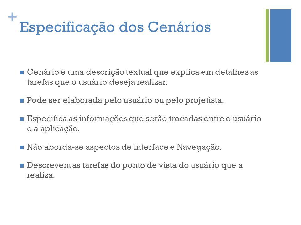 + Especificação dos Cenários  Cenário é uma descrição textual que explica em detalhes as tarefas que o usuário deseja realizar.  Pode ser elaborada