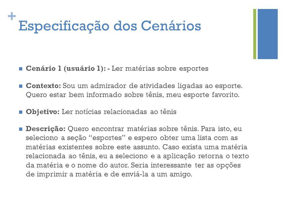 + Especificação dos Cenários  Cenário 1 (usuário 1): - Ler matérias sobre esportes  Contexto: Sou um admirador de atividades ligadas ao esporte. Que
