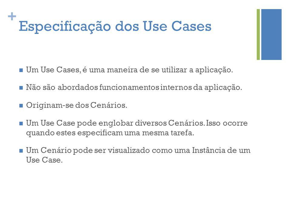 + Especificação dos Use Cases  Um Use Cases, é uma maneira de se utilizar a aplicação.  Não são abordados funcionamentos internos da aplicação.  Or