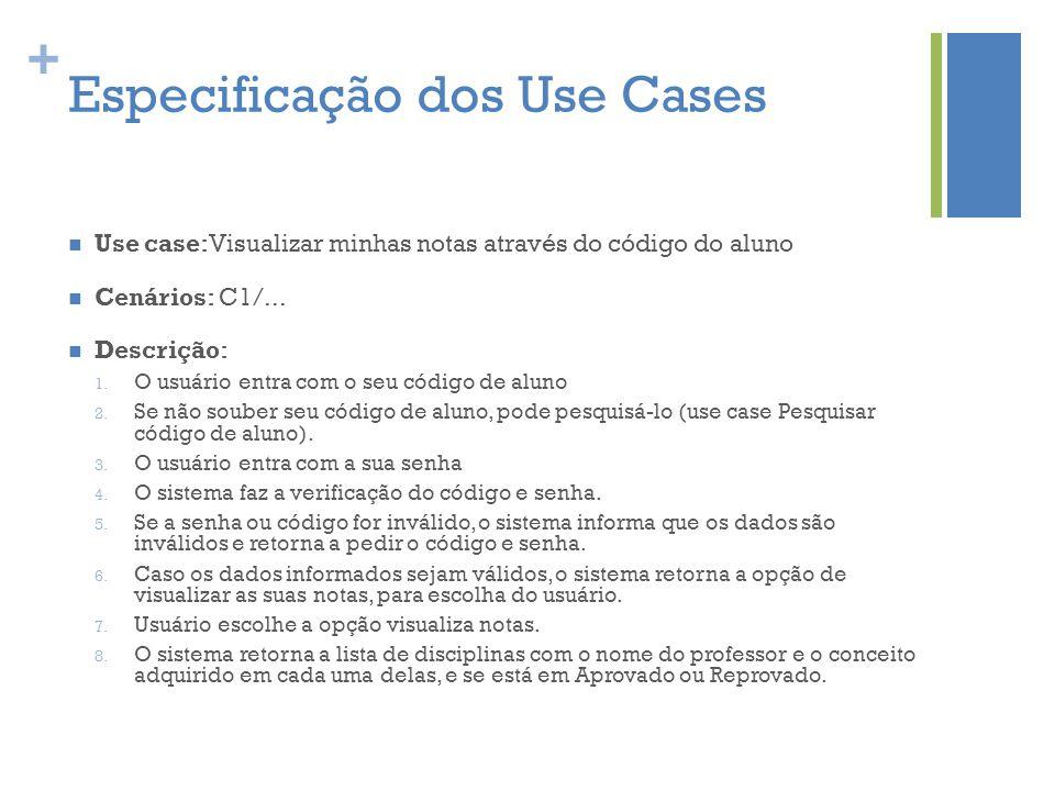 + Especificação dos Use Cases  Use case:Visualizar minhas notas através do código do aluno  Cenários: C1/...  Descrição: 1. O usuário entra com o s