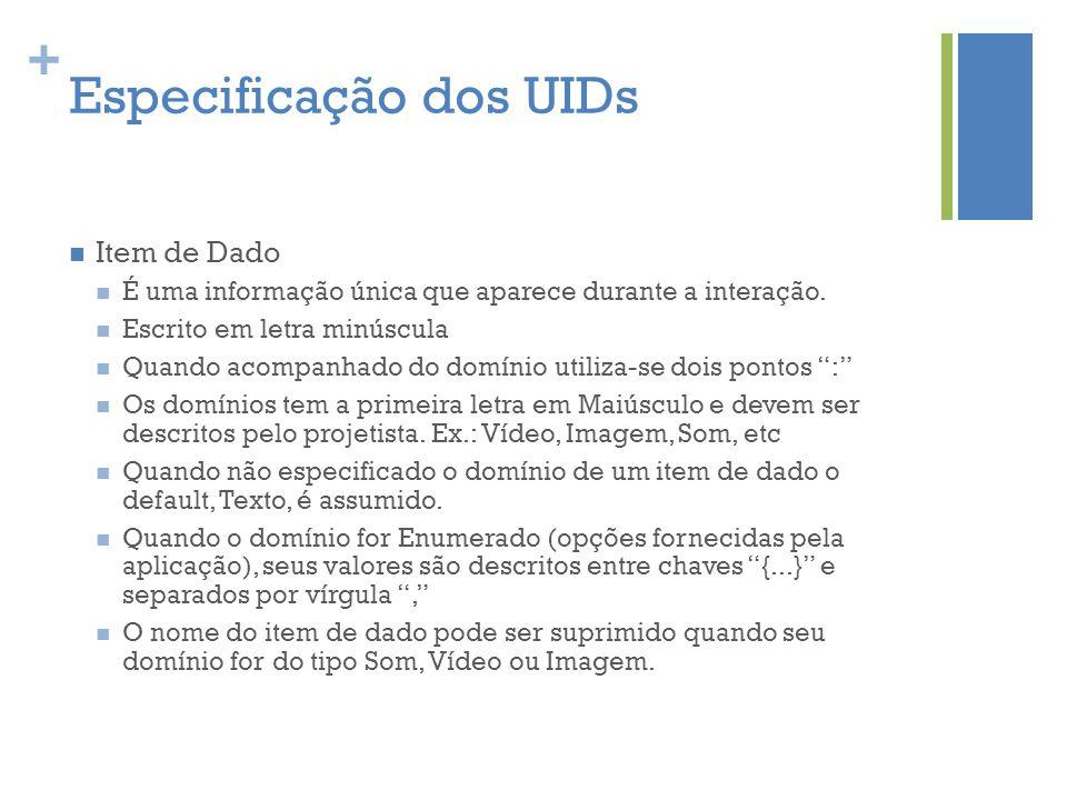 + Especificação dos UIDs  Item de Dado  É uma informação única que aparece durante a interação.  Escrito em letra minúscula  Quando acompanhado do