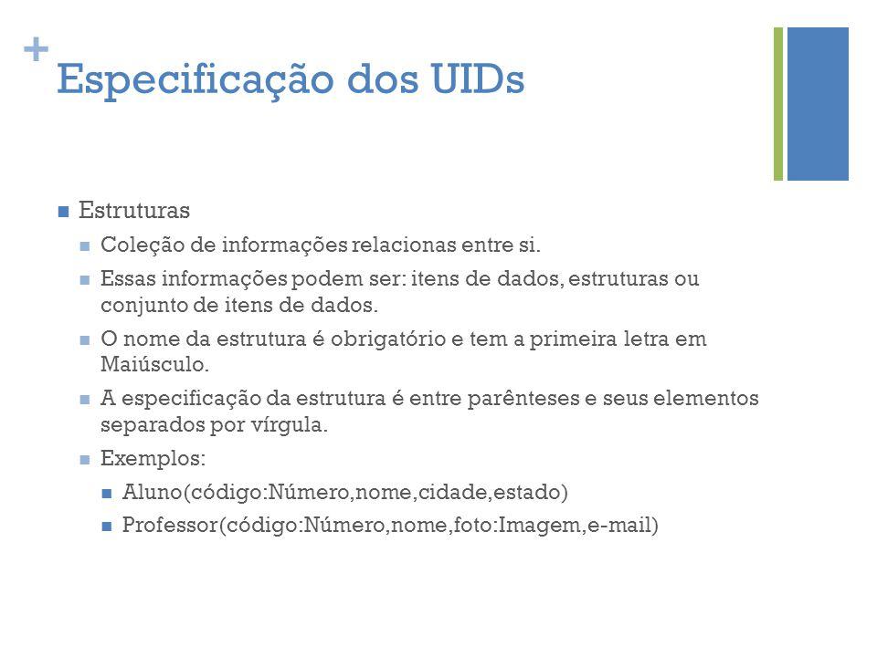 + Especificação dos UIDs  Estruturas  Coleção de informações relacionas entre si.  Essas informações podem ser: itens de dados, estruturas ou conju