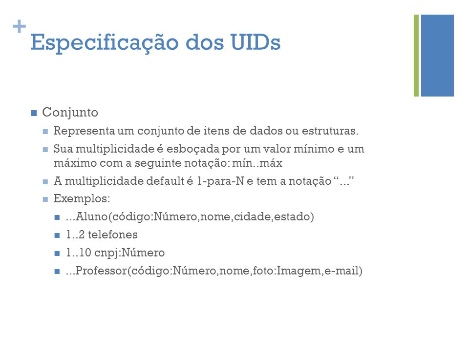 + Especificação dos UIDs  Conjunto  Representa um conjunto de itens de dados ou estruturas.  Sua multiplicidade é esboçada por um valor mínimo e um