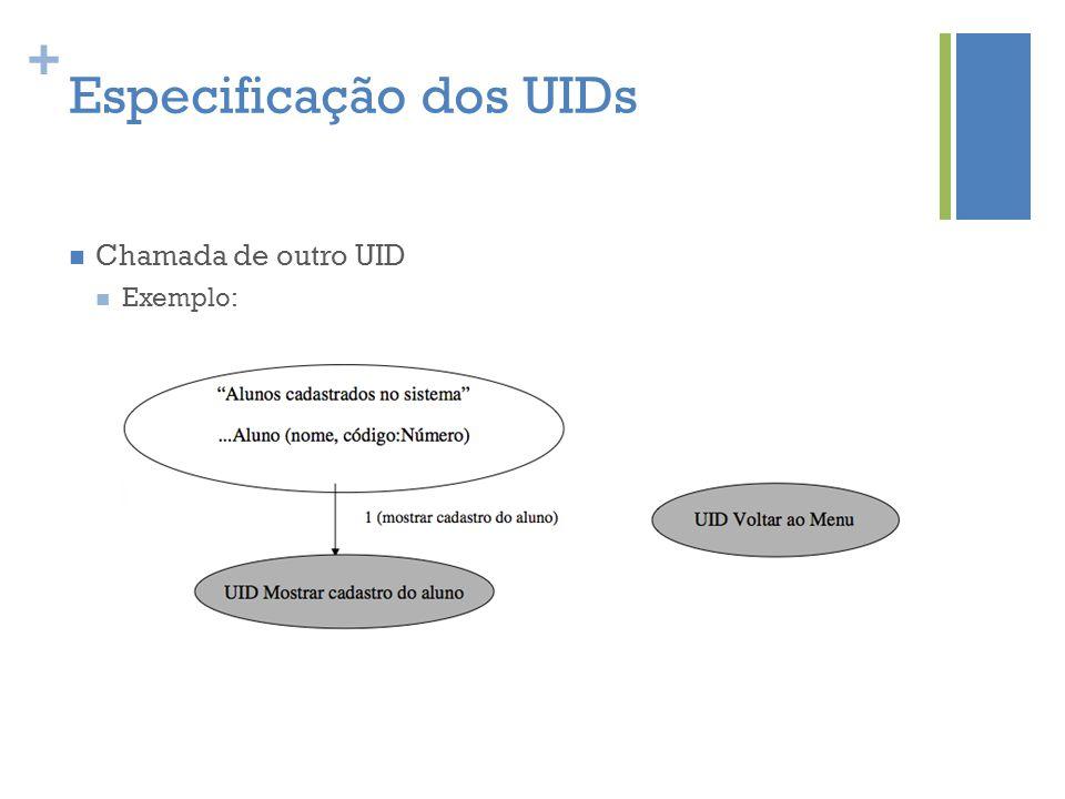 + Especificação dos UIDs  Chamada de outro UID  Exemplo: