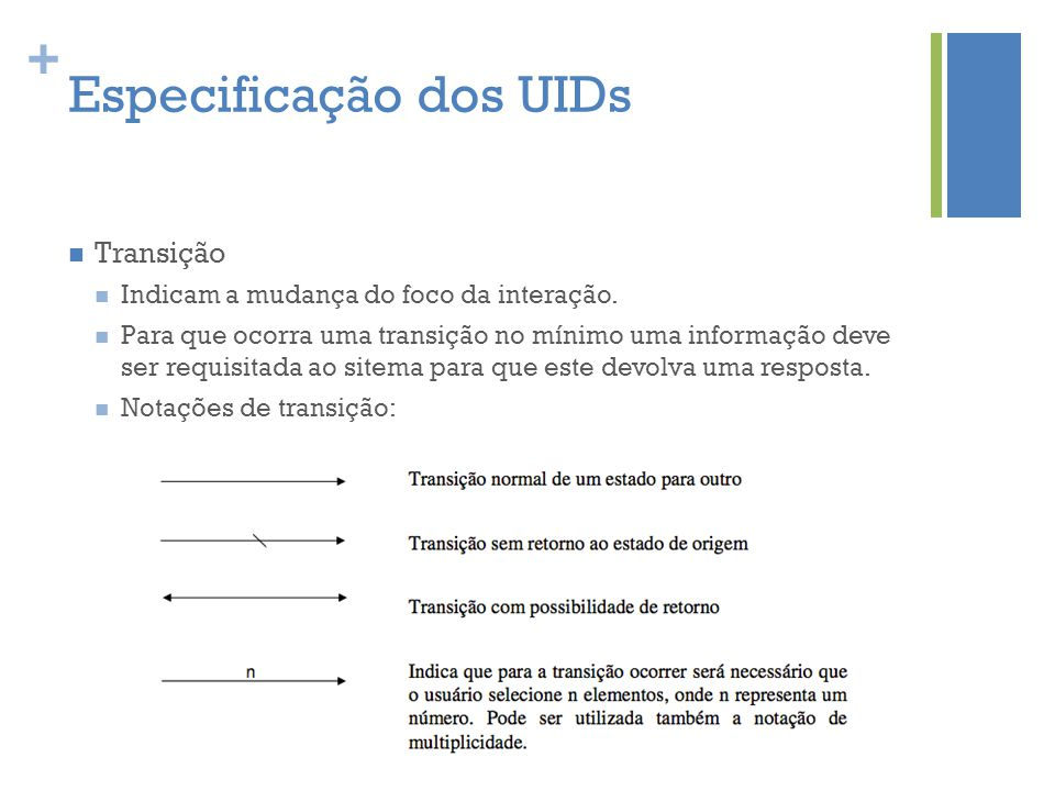 + Especificação dos UIDs  Transição  Indicam a mudança do foco da interação.  Para que ocorra uma transição no mínimo uma informação deve ser requi