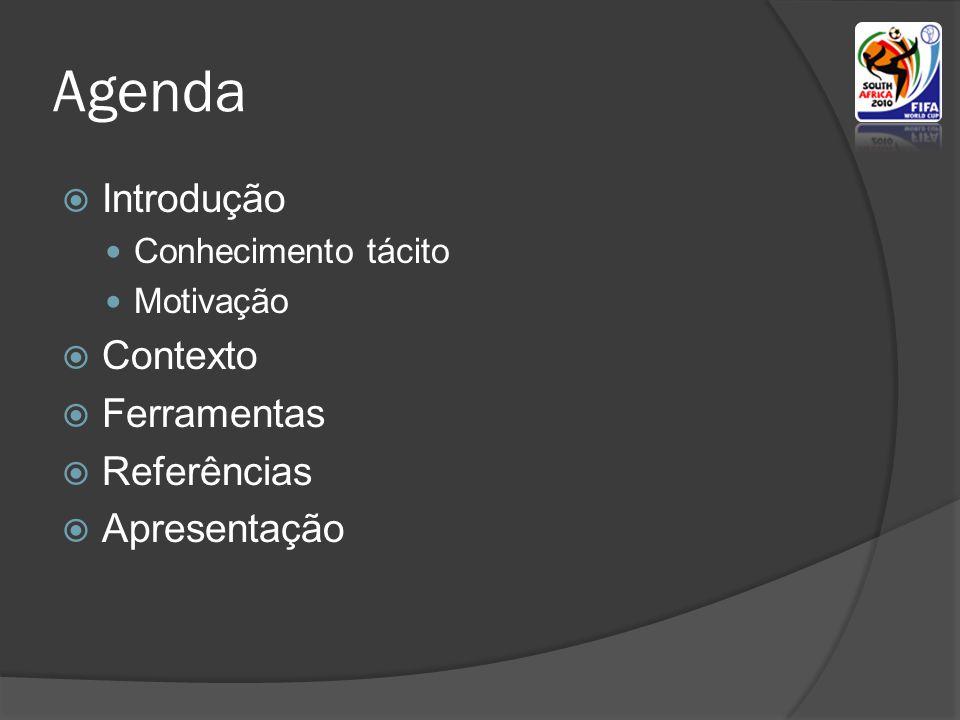 Agenda  Introdução  Conhecimento tácito  Motivação  Contexto  Ferramentas  Referências  Apresentação