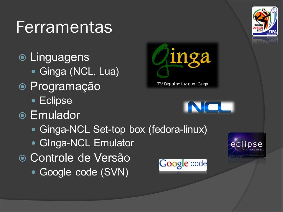 Ferramentas  Linguagens  Ginga (NCL, Lua)  Programação  Eclipse  Emulador  Ginga-NCL Set-top box (fedora-linux)  GInga-NCL Emulator  Controle de Versão  Google code (SVN)