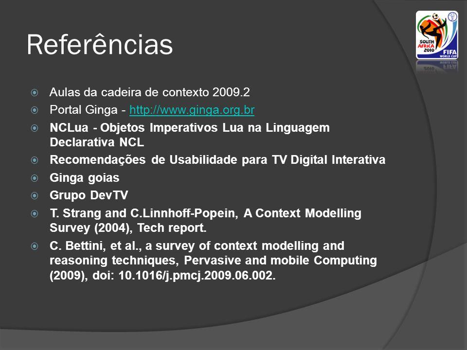 Referências  Aulas da cadeira de contexto 2009.2  Portal Ginga - http://www.ginga.org.brhttp://www.ginga.org.br  NCLua - Objetos Imperativos Lua na Linguagem Declarativa NCL  Recomendações de Usabilidade para TV Digital Interativa  Ginga goias  Grupo DevTV  T.