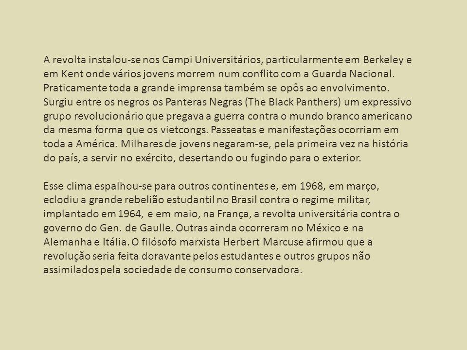A revolta instalou-se nos Campi Universitários, particularmente em Berkeley e em Kent onde vários jovens morrem num conflito com a Guarda Nacional. Pr
