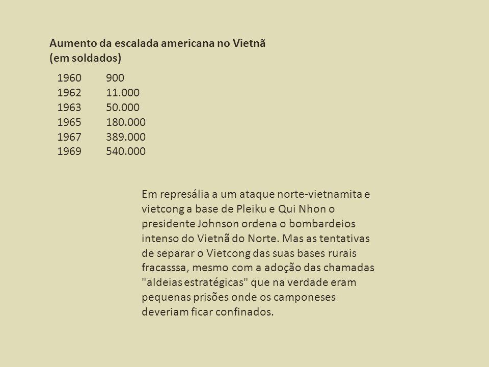 Aumento da escalada americana no Vietnã (em soldados) 1960900 196211.000 196350.000 1965180.000 1967389.000 1969540.000 Em represália a um ataque nort