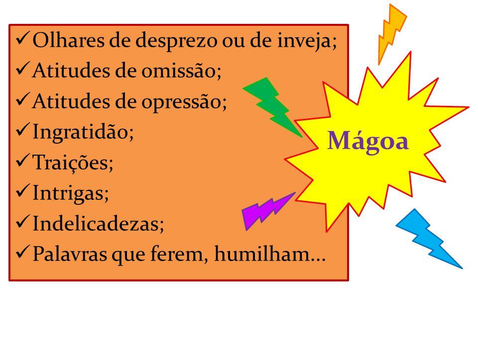  Olhares de desprezo ou de inveja;  Atitudes de omissão;  Atitudes de opressão;  Ingratidão;  Traições;  Intrigas;  Indelicadezas;  Palavras q