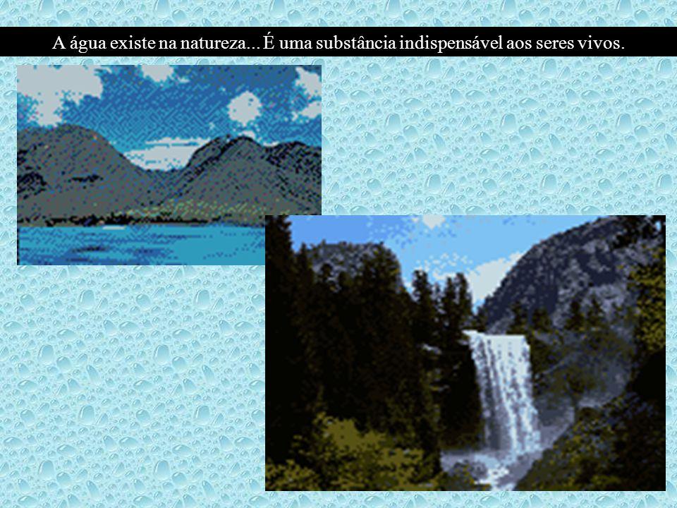 A água existe na natureza... É uma substância indispensável aos seres vivos.