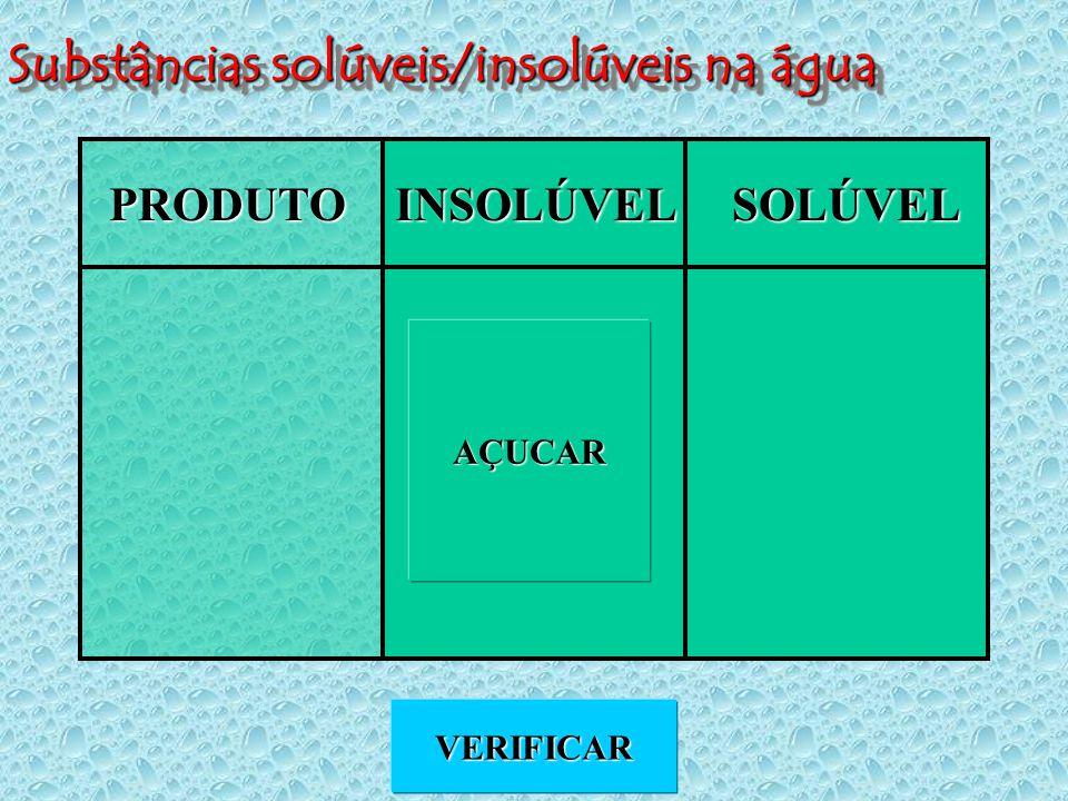Substâncias solúveis/insolúveis na água PRODUTOINSOLÚVELSOLÚVEL VERIFICAR AÇUCAR