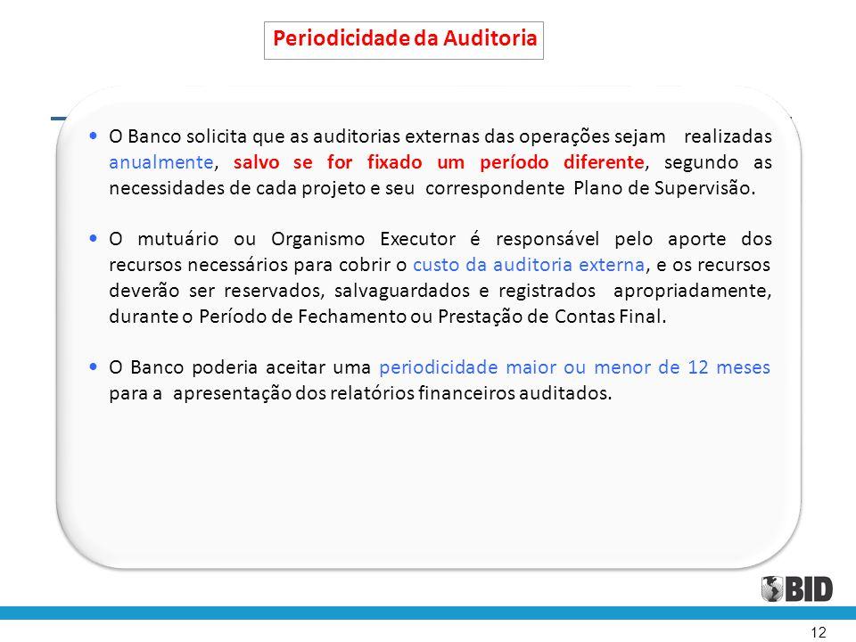 12 Periodicidade da Auditoria • O Banco solicita que as auditorias externas das operações sejam realizadas anualmente, salvo se for fixado um período
