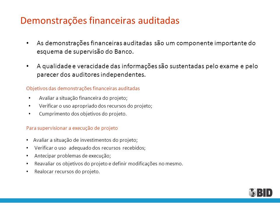 Demonstrações financeiras auditadas • As demonstrações financeiras auditadas são um componente importante do esquema de supervisão do Banco. • A quali