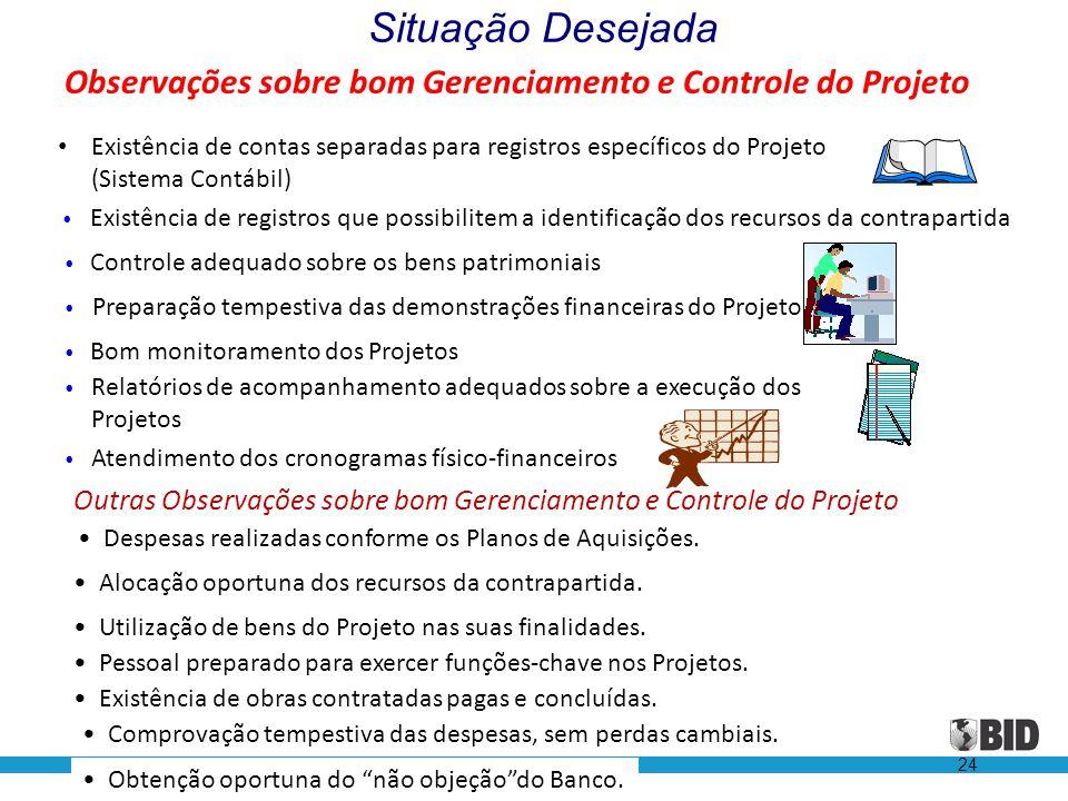 24 Observações sobre bom Gerenciamento e Controle do Projeto • Existência de contas separadas para registros específicos do Projeto (Sistema Contábil)