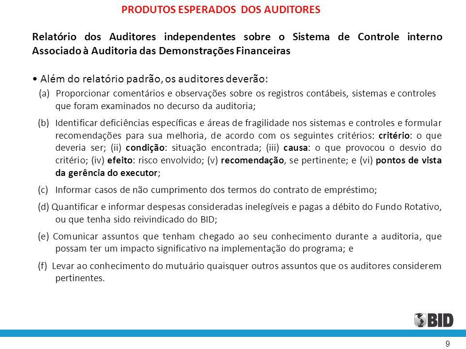 9 PRODUTOS ESPERADOS DOS AUDITORES Relatório dos Auditores independentes sobre o Sistema de Controle interno Associado à Auditoria das Demonstrações F