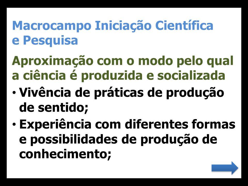 Macrocampo Iniciação Científica e Pesquisa Aproximação com o modo pelo qual a ciência é produzida e socializada • Vivência de práticas de produção de
