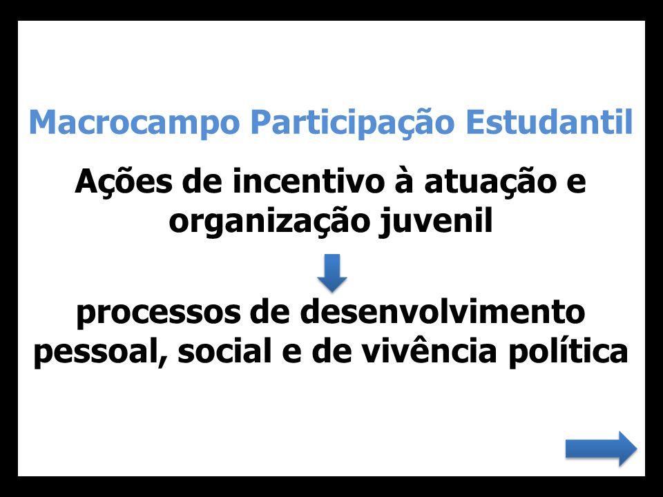 Macrocampo Participação Estudantil Ações de incentivo à atuação e organização juvenil processos de desenvolvimento pessoal, social e de vivência polít