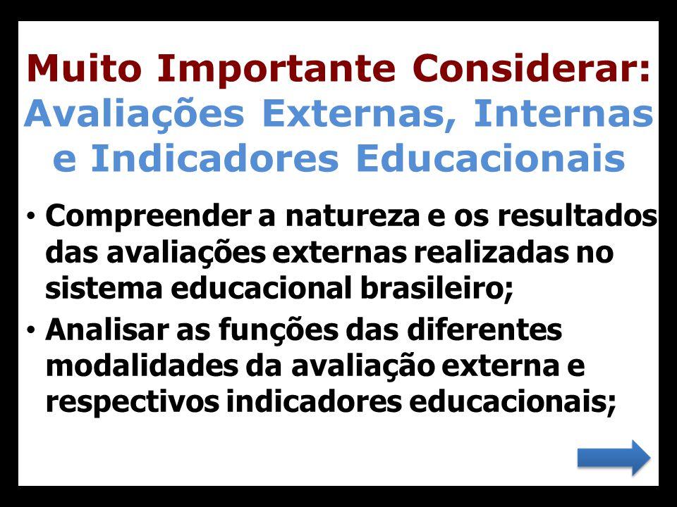• Compreender a natureza e os resultados das avaliações externas realizadas no sistema educacional brasileiro; • Analisar as funções das diferentes mo