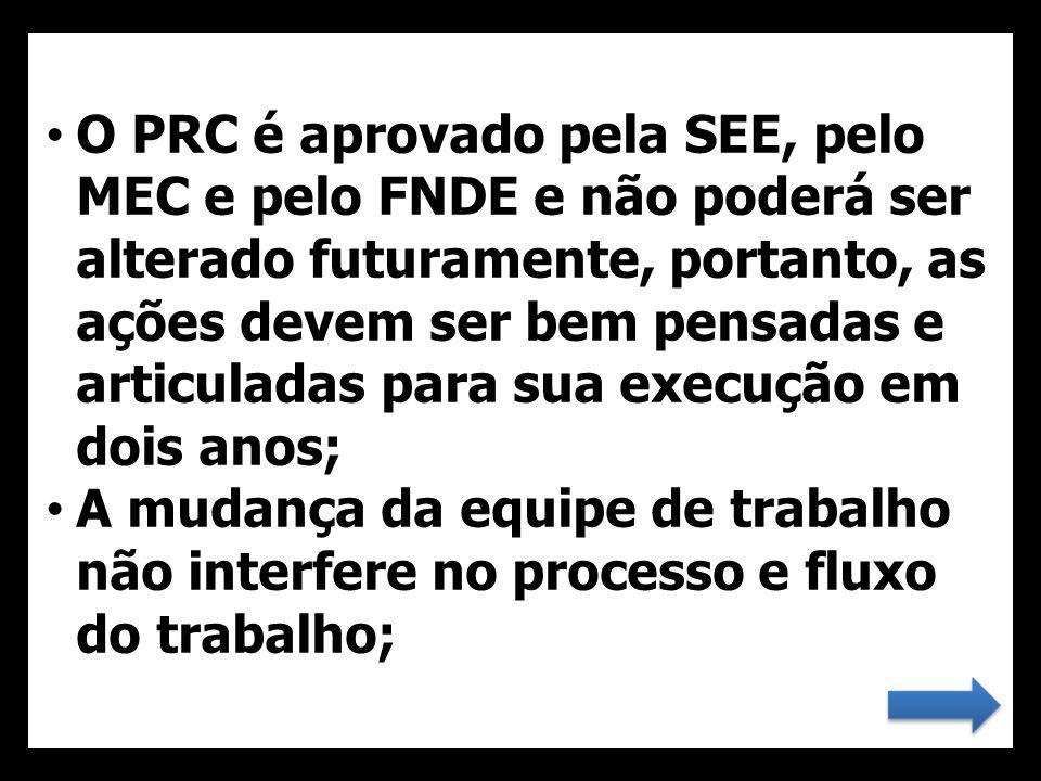 • O PRC é aprovado pela SEE, pelo MEC e pelo FNDE e não poderá ser alterado futuramente, portanto, as ações devem ser bem pensadas e articuladas para