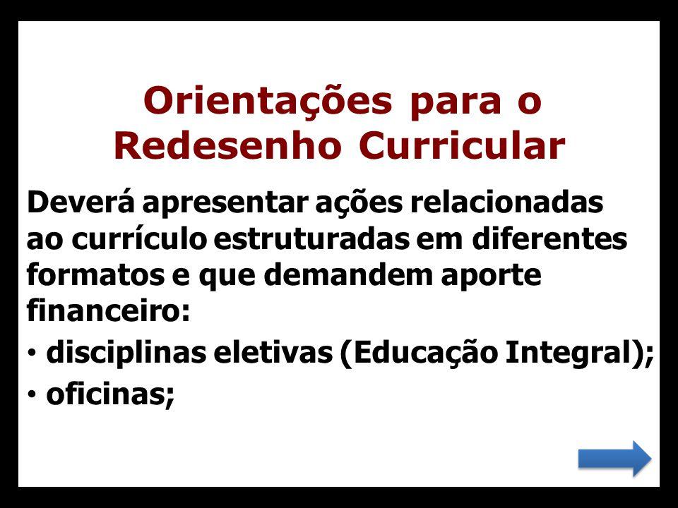 Orientações para o Redesenho Curricular Deverá apresentar ações relacionadas ao currículo estruturadas em diferentes formatos e que demandem aporte fi