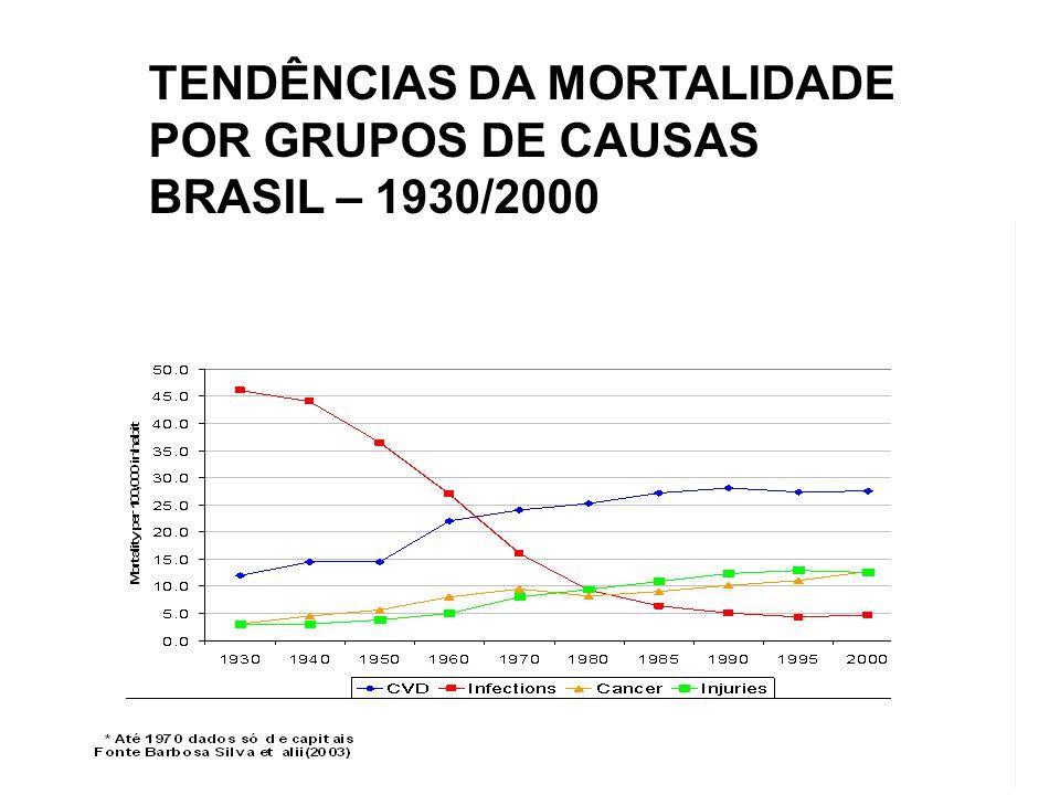 GRUPOSTAXA POR MIL HABITANTES % INFECCIOSAS, PARASITÁRIAS E DESNUTRIÇÃO 34 14,8 CAUSAS EXTERNAS 19 10,2 CONDIÇÕES MATERNAS E PERINATAIS 21 8,8 OUTRAS DOENÇAS NÃO TRANSMISSÍVEIS 124 66,2 TOTAL 232 100,0 A CARGA DA DOENÇA NO BRASIL POR GRUPOS DE CAUSAS - 1998 FONTE:SCHRAMM et alii ( 2004)